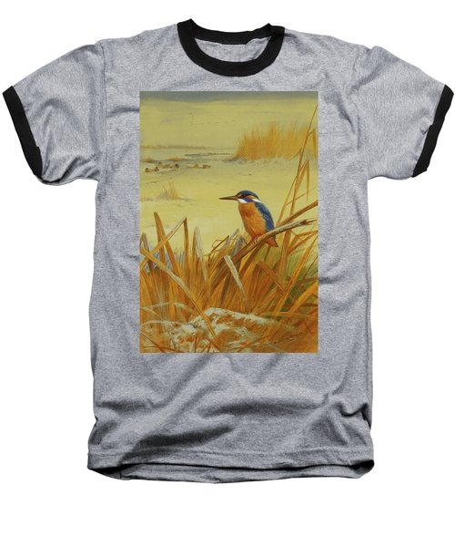 A Kingfisher Amongst Reeds In Winter Baseball T-Shirt by Archibald Thorburn