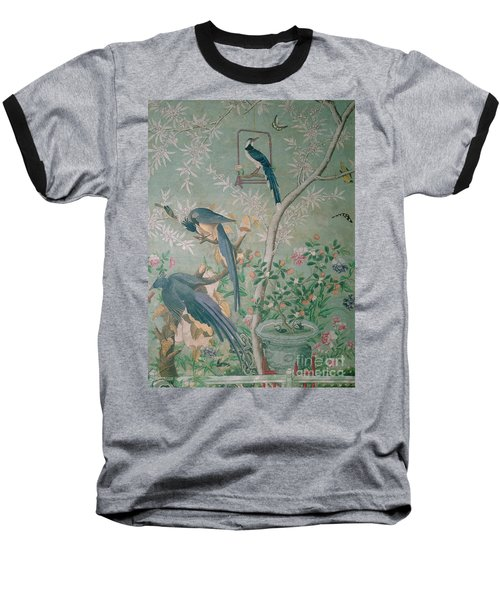 A Pair Of Magpie Jays  Vintage Wallpaper Baseball T-Shirt by John James Audubon