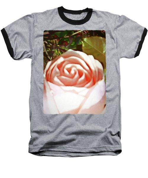 A Pale Pink Rosebud Baseball T-Shirt by Jackie VanO