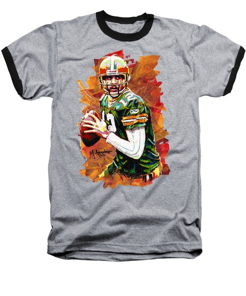 Aaron Rodgers Baseball T-Shirt by Maria Arango