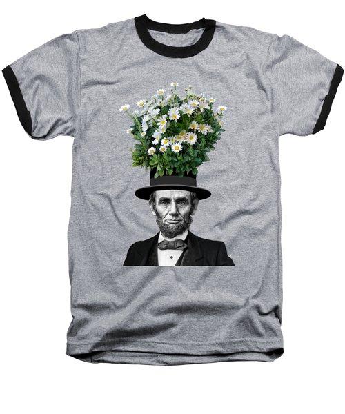 Abraham Lincoln Presidential Daisies Baseball T-Shirt by Garaga Designs