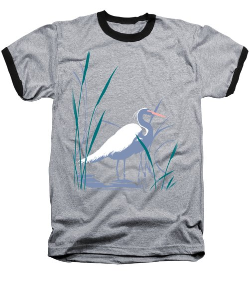 abstract Egret graphic pop art nouveau 1980s stylized retro tropical florida bird print blue gray  Baseball T-Shirt by Walt Curlee