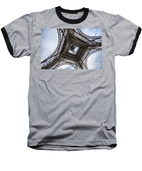 Abstract Eiffel Tower Looking Up 2 Baseball T-Shirt by Mike Reid