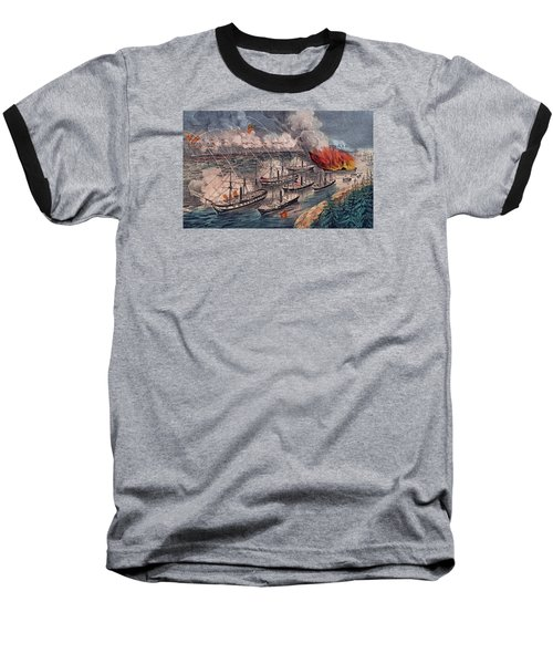 Admiral Farragut's Fleet Engaging The Rebel Batteries At Port Hudson Baseball T-Shirt by American School