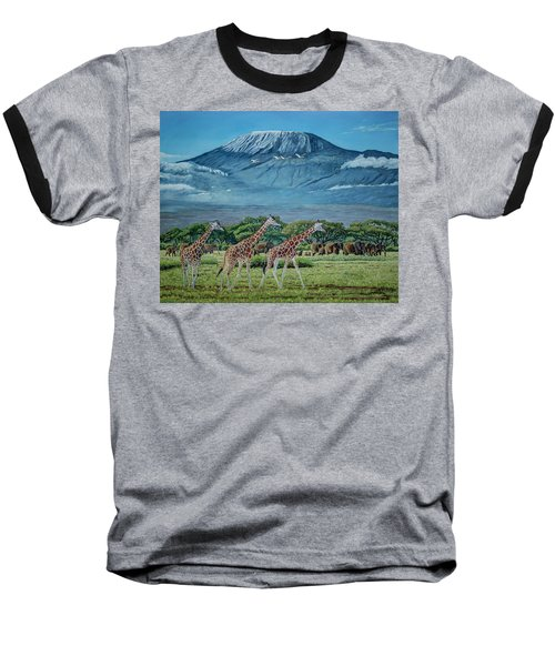 African Giants At Mount Kilimanjaro, Original Oil Painting 48x60 In On Gallery Canvas Baseball T-Shirt by Manuel Lopez