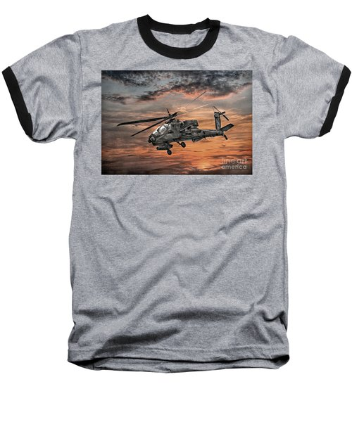 Ah-64 Apache Attack Helicopter Baseball T-Shirt by Randy Steele
