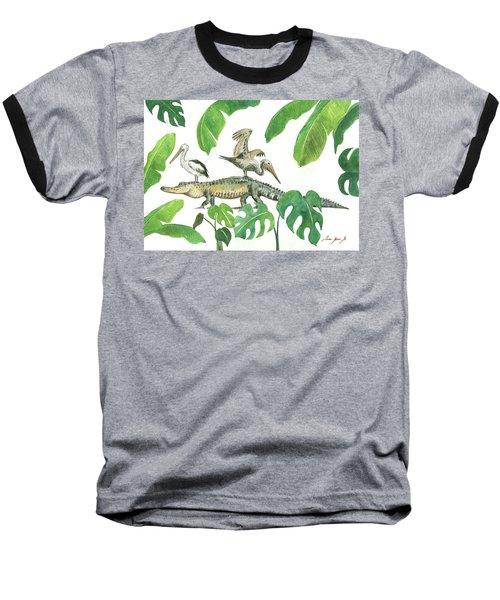 Alligator And Pelicans Baseball T-Shirt by Juan Bosco