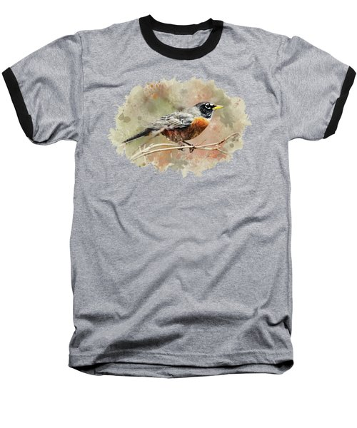 American Robin - Watercolor Art Baseball T-Shirt by Christina Rollo