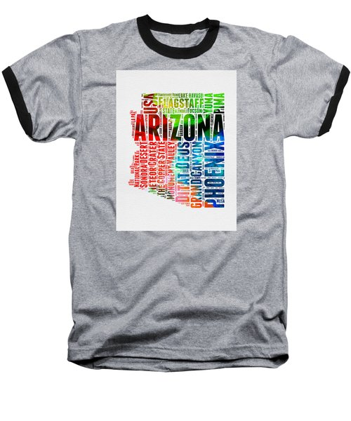 Arizona Watercolor Word Cloud Map  Baseball T-Shirt by Naxart Studio