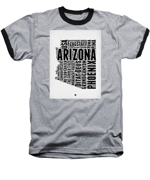 Arizona Word Cloud Map 2 Baseball T-Shirt by Naxart Studio