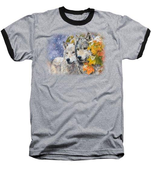 Early Snowfall Baseball T-Shirt by Lucie Bilodeau