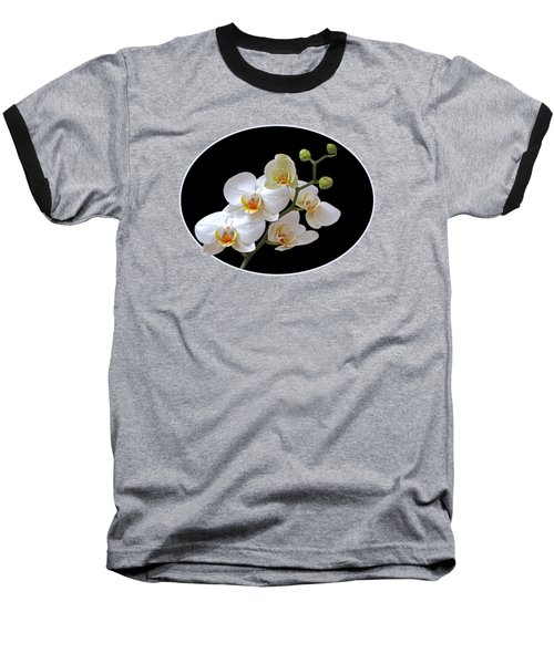 White Orchids On Black Baseball T-Shirt by Gill Billington