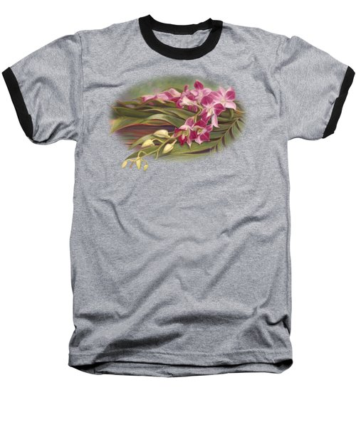 Dendrobium Orchids Baseball T-Shirt by Lucie Bilodeau