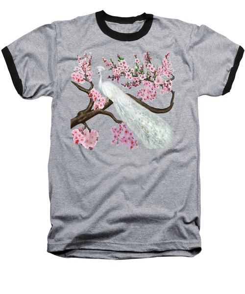 Cherry Blossom Peacock Baseball T-Shirt by Glenn Holbrook