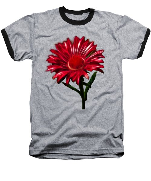 Red Daisy Baseball T-Shirt by Shane Bechler