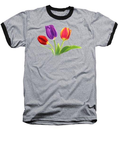 Tulip Trio Baseball T-Shirt by Sarah Batalka