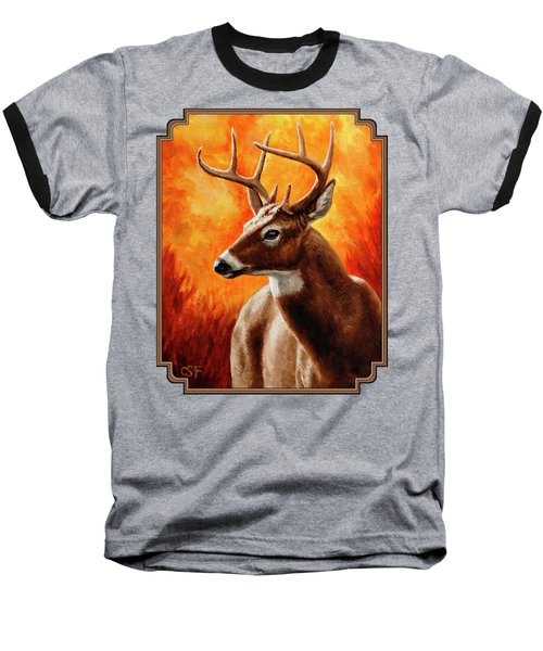 Whitetail Buck Portrait Baseball T-Shirt by Crista Forest