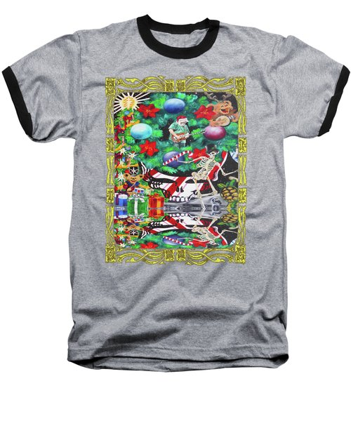 Christmas On The Moon Baseball T-Shirt by Kevin J Cooper Artwork
