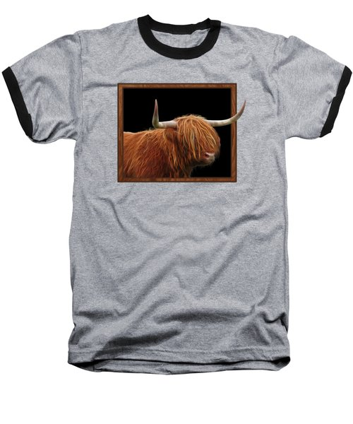 Bad Hair Day - Highland Cow Square Baseball T-Shirt by Gill Billington