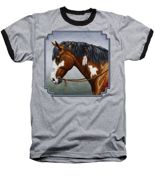 Bay Native American War Horse Baseball T-Shirt by Crista Forest