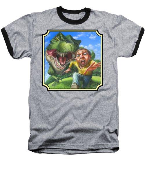 Tyrannosaurus Rex Jurassic Park Dinosaur - T Rex - T Rex - Extinct Predator - Square Format Baseball T-Shirt by Walt Curlee