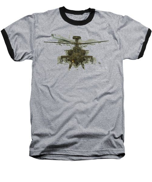 Apache Helicopter Abstract Baseball T-Shirt by Roy Pedersen