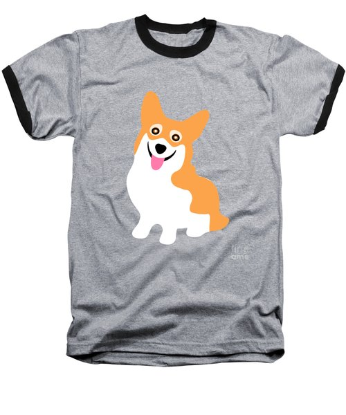 Smiling Corgi Pup Baseball T-Shirt by Antique Images