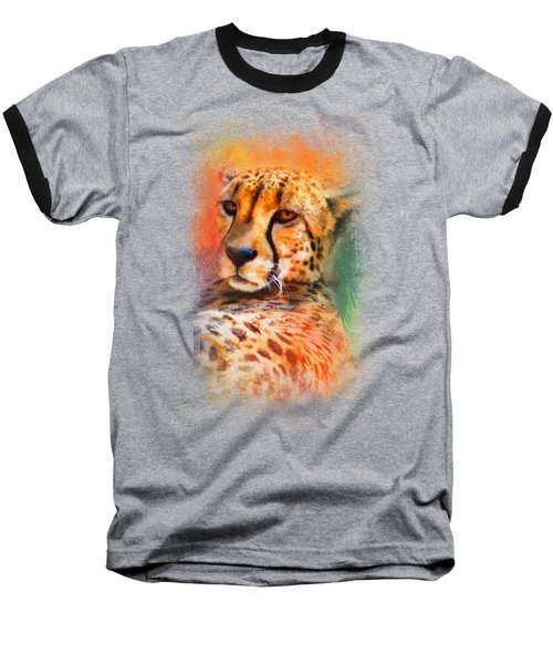 Colorful Expressions Cheetah Baseball T-Shirt by Jai Johnson