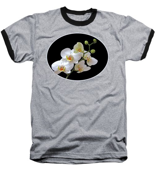Orchids On Black And Red Baseball T-Shirt by Gill Billington