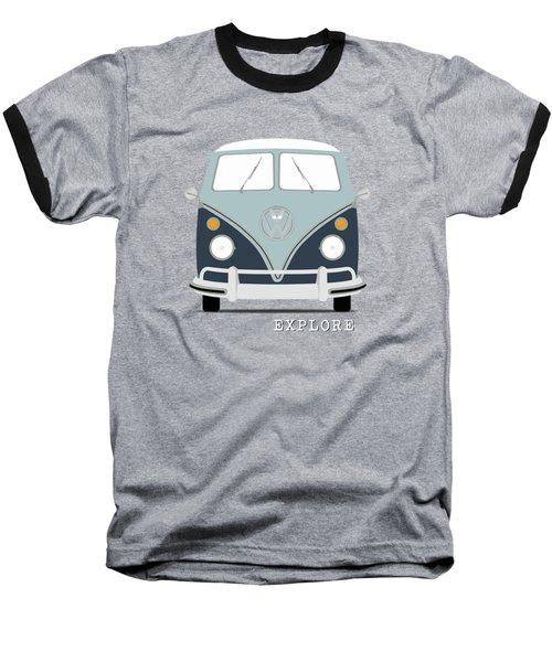 Vw Bus Blue Baseball T-Shirt by Mark Rogan