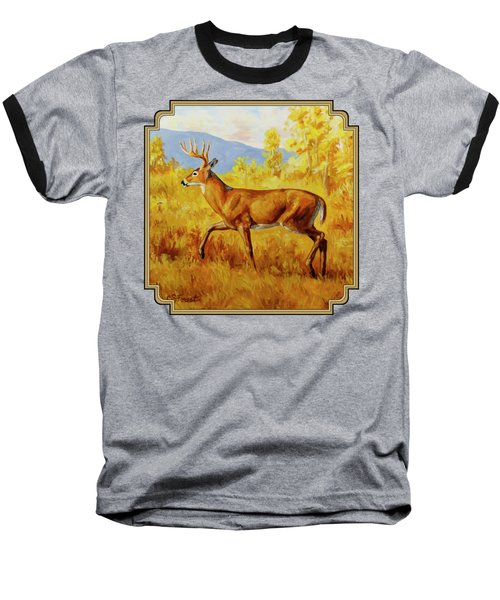 Whitetail Deer In Aspen Woods Baseball T-Shirt by Crista Forest