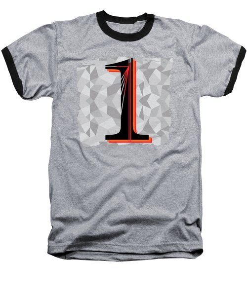 Number 1 One Baseball T-Shirt by Liesl Marelli