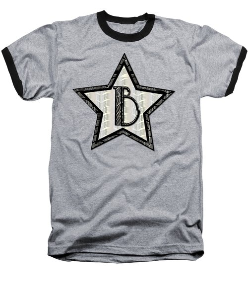 Star Of The Show Art Deco Style Letter B Baseball T-Shirt by Cecely Bloom