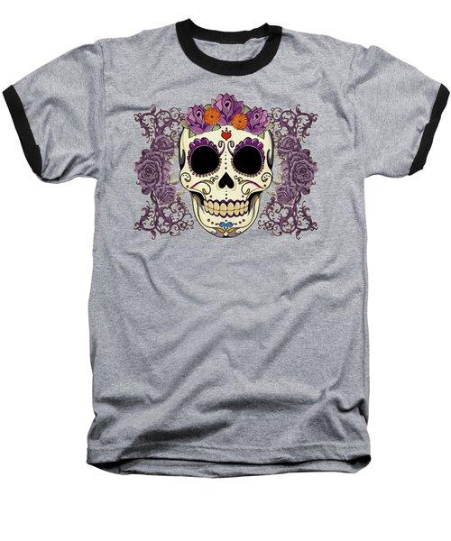 Vintage Sugar Skull And Roses Baseball T-Shirt by Tammy Wetzel