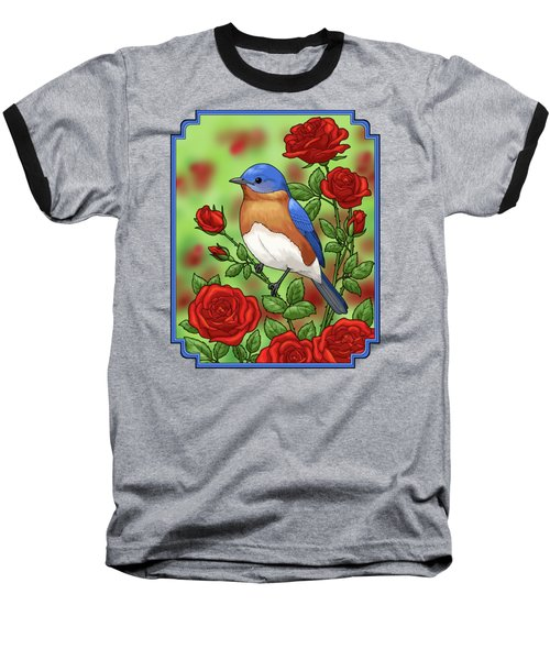 New York State Bluebird And Rose Baseball T-Shirt by Crista Forest