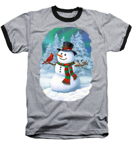 Sharing The Wonder - Christmas Snowman And Birds Baseball T-Shirt by Crista Forest