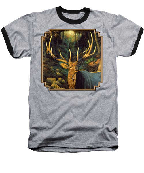 Elk Painting - Autumn Majesty Baseball T-Shirt by Crista Forest