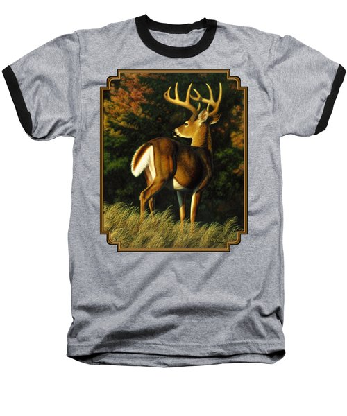 Whitetail Buck - Indecision Baseball T-Shirt by Crista Forest