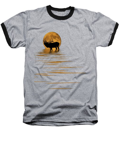 Elk In The Moonlight Baseball T-Shirt by Shane Bechler