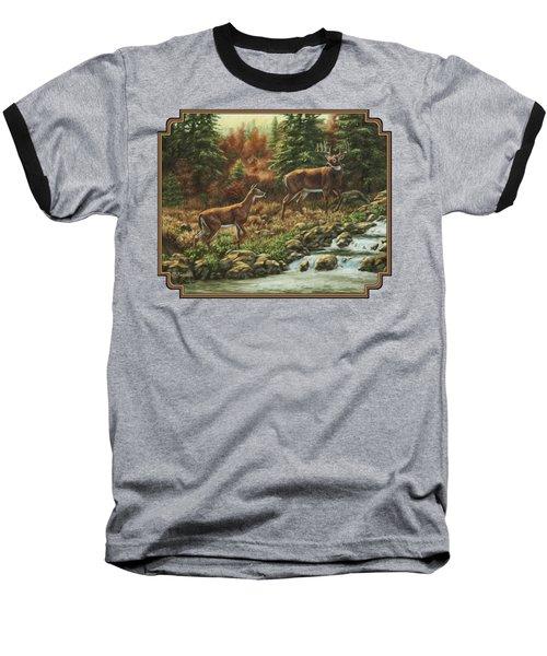 Whitetail Deer - Follow Me Baseball T-Shirt by Crista Forest