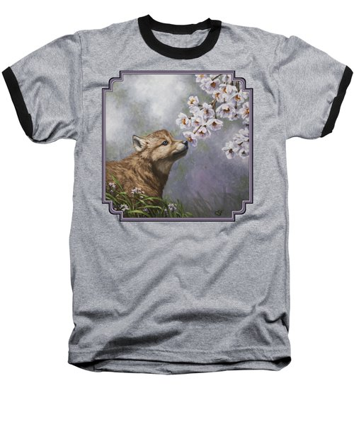 Wolf Pup - Baby Blossoms Baseball T-Shirt by Crista Forest