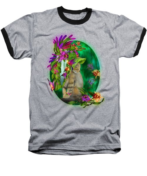 Cat In Tropical Dreams Hat Baseball T-Shirt by Carol Cavalaris
