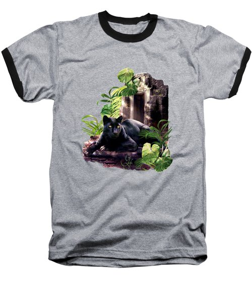 Black Panther Custodian Of Ancient Temple Ruins  Baseball T-Shirt by Regina Femrite