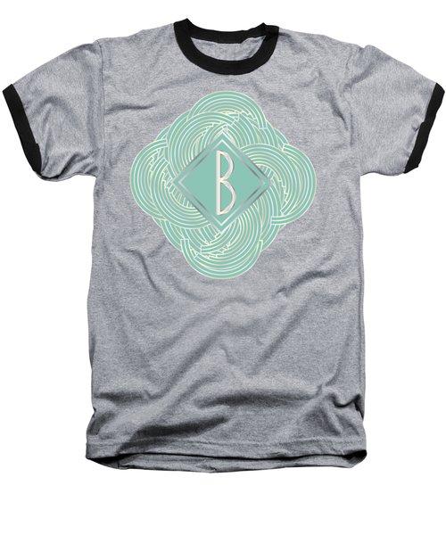 1920s Blue Deco Jazz Swing Monogram ...letter B Baseball T-Shirt by Cecely Bloom