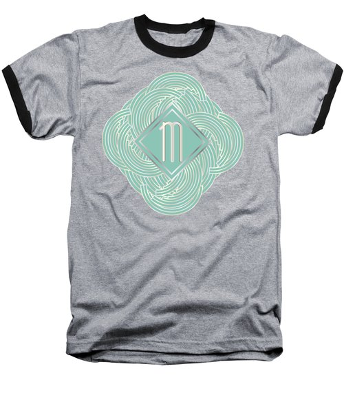 1920s Blue Deco Jazz Swing Monogram ...letter M Baseball T-Shirt by Cecely Bloom