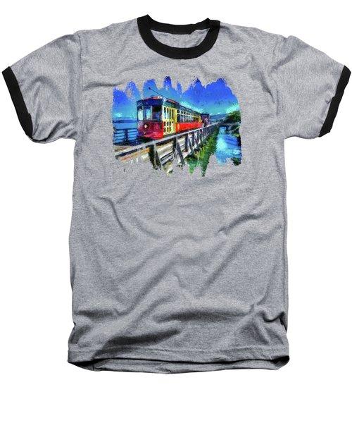 Astoria Riverfront Trolley Baseball T-Shirt by Thom Zehrfeld