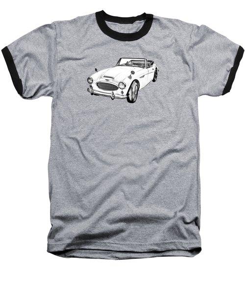 Austin Healey 300 Sports Car Drawing Baseball T-Shirt by Keith Webber Jr