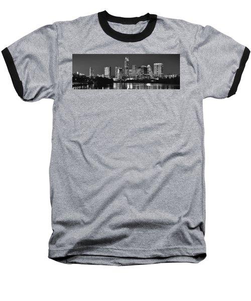 Austin Skyline At Night Black And White Bw Panorama Texas Baseball T-Shirt by Jon Holiday