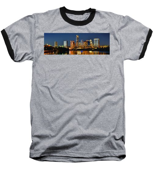 Austin Skyline At Night Color Panorama Texas Baseball T-Shirt by Jon Holiday