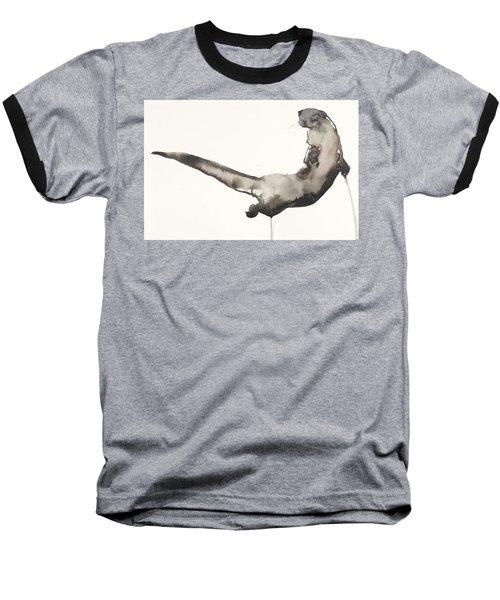 Back Awash   Otter Baseball T-Shirt by Mark Adlington